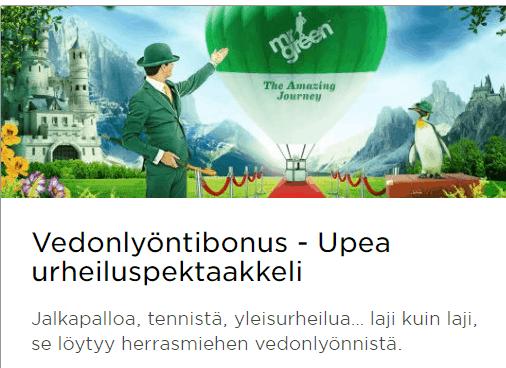 mr green vedonlyöntibonus